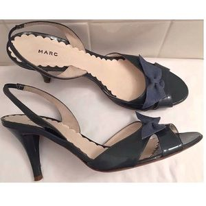 Slingback Heels Open Toe Shoes With Bows Size 8 US